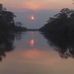 Couché de soleil depuis la porte sud d'Angkor Thom