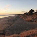 Coucher de soleil sur Muriwai Beach (plage de sable noir)