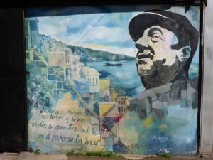 Grafiti représentant le poète Pablo Neruda