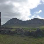 Vue sur la fabrique des Moais (le volcan Rano Raraku) depuis Ahu Tongariki