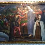 Représentation de l'exploitation des indigènes par les espagnoles, Jésus matérialise ici les indigènes et les conquistadors remplacent les romains